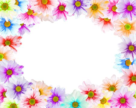 Floral frame made of colorful daisies on white photo