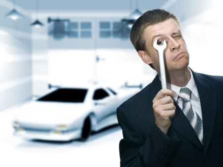 Businessmen confused to repair his own supercar by himself due to crisis savings Stock Photo - 4630138