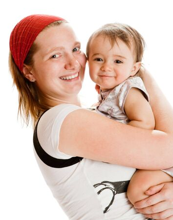 giggle: Portrait of happy mother and baby girl