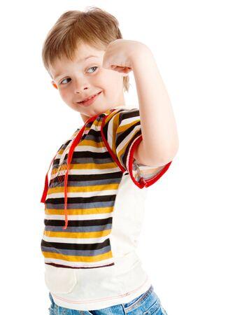 he: Preschool boy showing how muscular he is