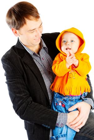 fathering: Father with smiley baby in hands Stock Photo