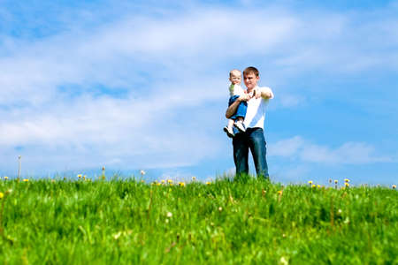 Father with son pointing into the distance Stock Photo - 4840936