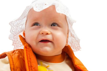 Portrait of a smiling baby looking up photo