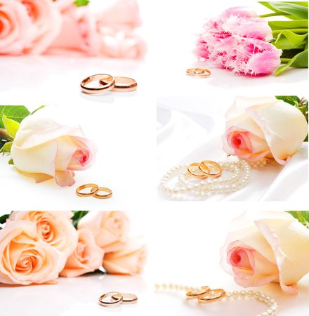 bridal bouquet: Flowers and wedding rings, shot closeup Stock Photo
