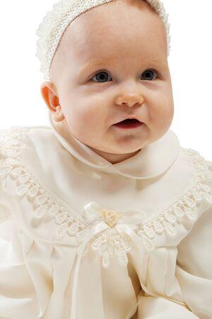 baptismal: Baby girl in baptismal dress, isolated