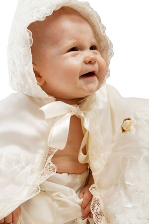 baptismal: Laughing baby in baptismal clothes, isolated