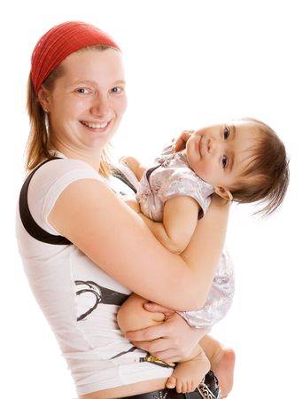 Playful mother and baby girl in her hands photo