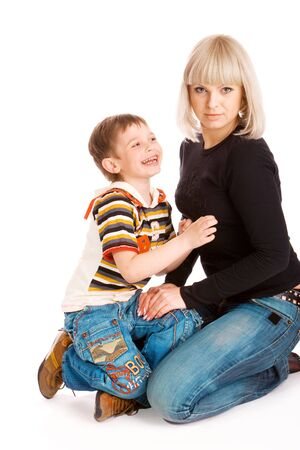 Mother and her son, isolated, over white photo