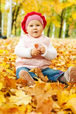 Kid sitting in the yellow autumn leaves photo