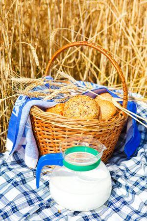 Bread in a wicker basket and milk jug photo