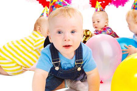 Babies having fun at the birthday party Stock Photo - 5411323