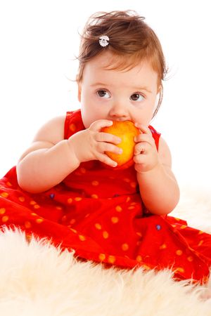Baby with peach photo