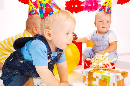 Babies having fun at the birthday party Stock Photo - 5484178