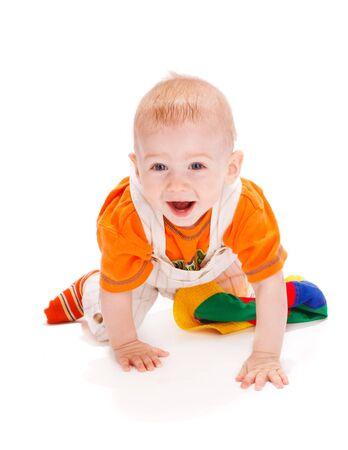 Happy baby boy crawling Stock Photo - 5484161