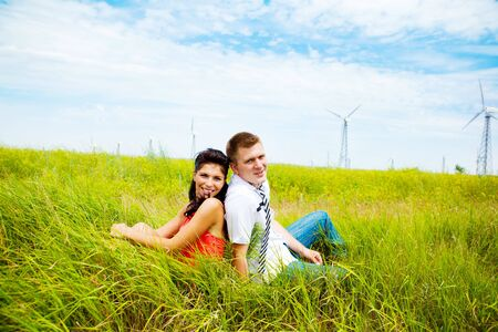 Happy couple outdoors photo
