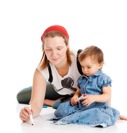 Mother and daughter drawing, isolated photo
