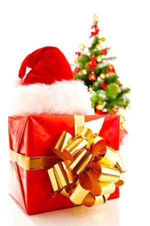 Christmas symbols - santa hat, present, Xmas tree photo