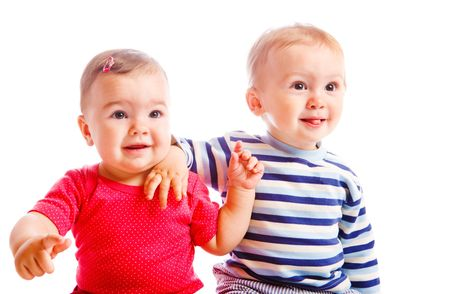 Portrait of a happy  toddler friends Stock Photo - 5670778