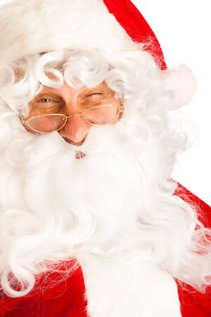 Portrait of Santa Claus winking, isolated Stock Photo - 5670772
