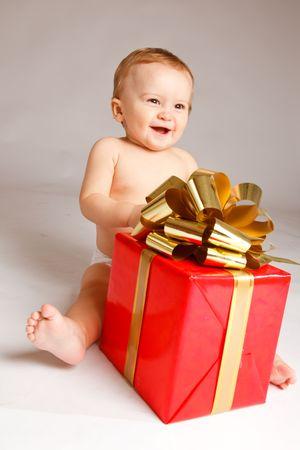 Little boy with Xmas present Stock Photo - 5706001
