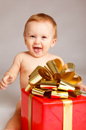 Little boy with Xmas present Stock Photo - 5706000
