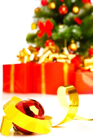 Christmas decoration,  present boxes behind photo