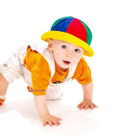Cute baby boy in a funny hat photo
