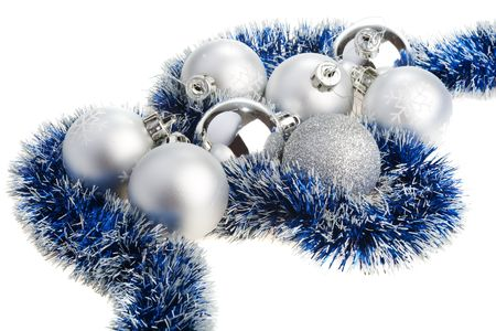 Silver and blue Christmas decoration photo
