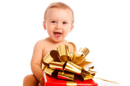 Little boy with Xmas present photo