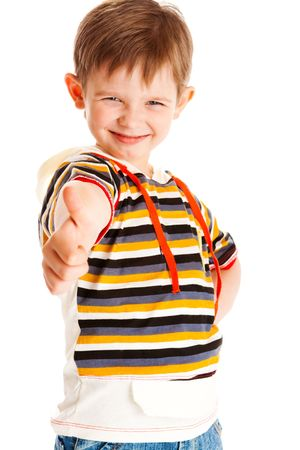 preschool children: Preschool boy showing thumb up symbolyzing success Stock Photo