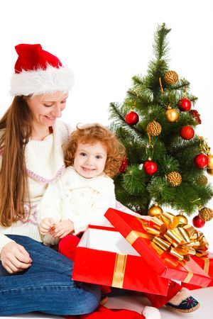 Mother and little daughter opening a present box Stock Photo - 5880070