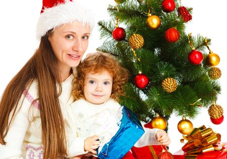 Mother and little daughter opening a present box Stock Photo - 5880457