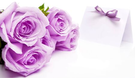 lilac: Purple roses and blank invitation card with a bow Stock Photo