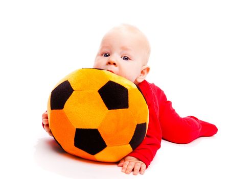 large ball: Lovely  baby with soccer ball