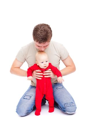 Father happy to play with his baby son, isolated Stock Photo - 5982270