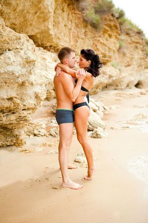 Romantic couple at the seacoast photo