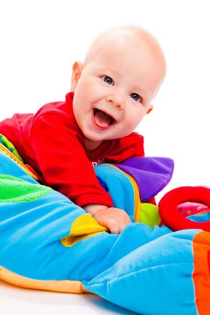 Laughing baby, on a white background photo