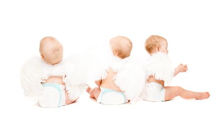 Three baby angels sitting with their backs to the camera Stock Photo - 6023608