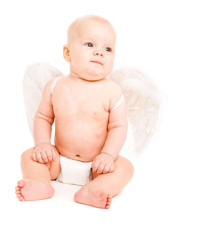 Baby angel in diaper with white wings photo