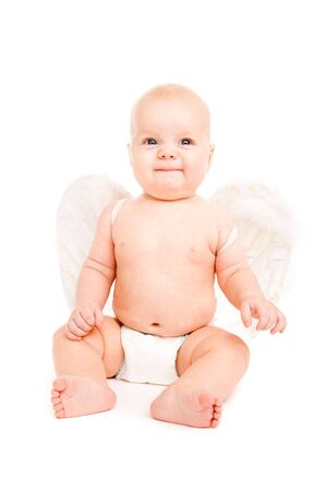 baby angel: Baby angel in diaper with white wings