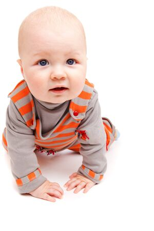 A sweet baby boy crawling, isolated Stock Photo - 6102711