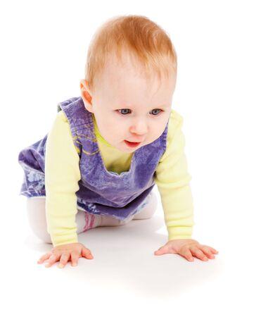 Lovely baby girl crawling, isolated Stock Photo - 6102727