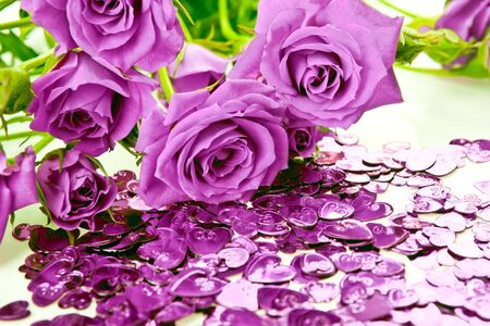 purple roses: Purple roses bouquet and heart confetti