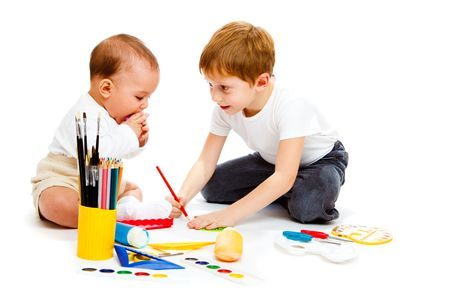 Baby and preschool boys drawing, isolated Stock Photo - 6156519