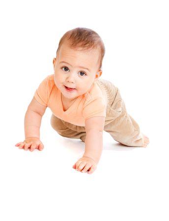 Sweet baby boy, crawling Stock Photo - 6165575