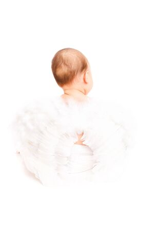 Sweet diaper angel with white wings on photo
