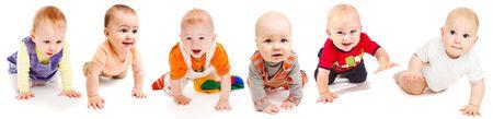 bebe gateando: Colecci�n de seis beb�s encantadoras rastreo, aisladas