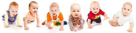 Collection of six lovely babies crawling, isolated photo