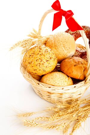 Bread and buns in the wicker basket photo