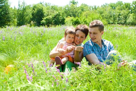 Parents playing with toddler in the meadow Stock Photo - 6335126